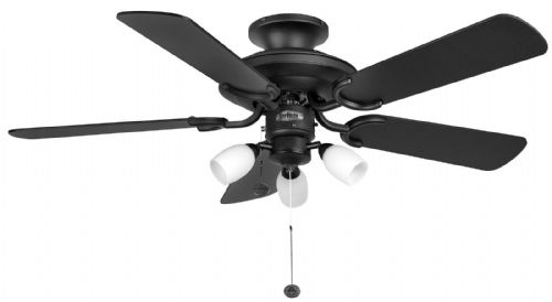 "Fantasia Mayfair Combi 42"" Matt Black Ceiling Fan +  Light 110996"